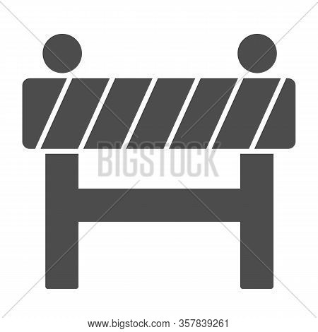 Barrier Fence Solid Icon. Under Construction, Road Caution Barricade Symbol, Glyph Style Pictogram O
