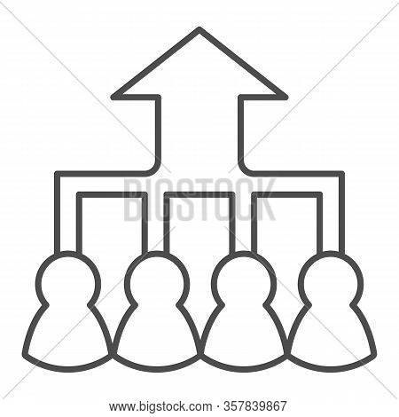 Career Group Growth Thin Line Icon. Hierarchy Or Flow Chart, Up Arrow And Team Symbol, Outline Style
