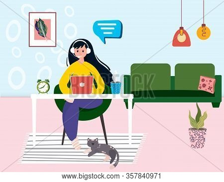 Woman Works In Customer Service From Home Office. Remote Work In Helpdesk. Operator In Call Center I