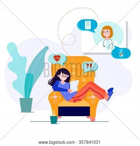 Tele Medicine With Therapist. Virtual Doctor Meeting For Therapy, Diagnose, Pills. Online Consultati
