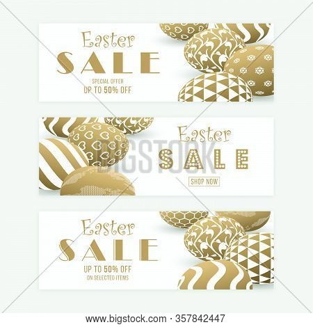 Easter Sale Banner Templates With Three Dimensional Patterned Eggs. Gold Colored Easter Banner Desig