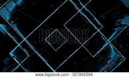 Top View Closeup 3d Illustration Concept Of Dark Black Highly Detailed Scifi Futuristic Pattern Back