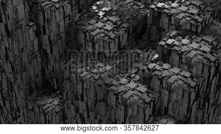 Perspective View Closeup 3d Illustration Concept Of Dark Grey Highly Detailed Scifi Futuristic Archi