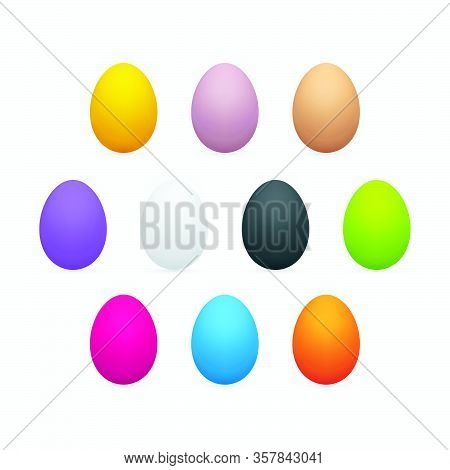 Colorful Easter Eggs On White Background. Three Dimensional Egg Icon Set.