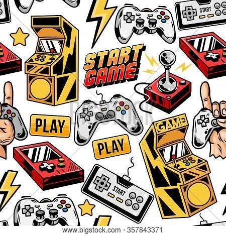 Vintage Style Seamless Pattern With Retro Arcade Machines, Old Game Controller, Modern And Old Joyst