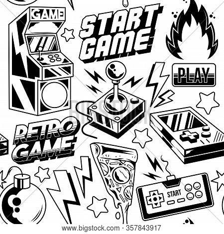 Vintage Style Seamless Pattern With Retro Arcade Machine, Old Game Controller, Retro 8 Bit Game Joys