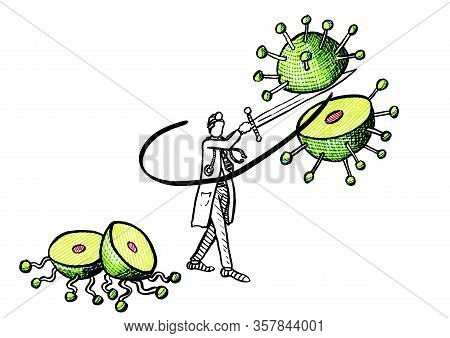 Freehand Drawing Of Medical Doctor Breaking A Huge Coronavirus Cell Hovering In Midair In Two With A