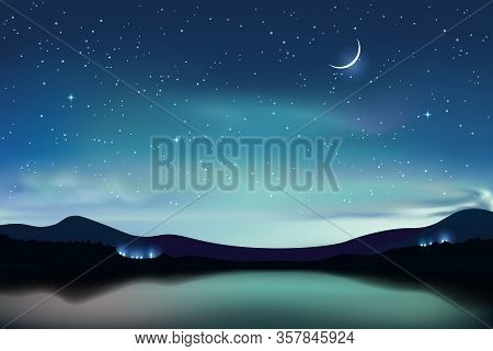 Mountain Lake With Dark Turquoise Starry Sky And A Crescent Moon, Night Sky Realistic Background, Ve