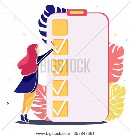 Girl Stands Near To A Giant Sheet Of Tasks And Marks The Completion Of The Next Task Marked Checklis