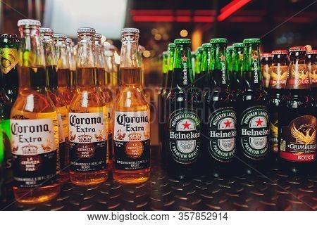 Ufa, Russia - December 19, 2019: Corona Extra Beer Bottles On Shelves In A Supermarket. Corona Extra