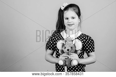Friendly Babysitter. Kid Cute Girl Play With Soft Toy Mouse. Happy Childhood. Child Care. Sweet Chil