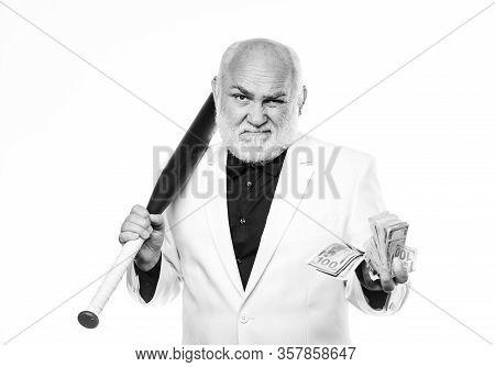 Black Cash Money. Senior Man Hold Cash Money And Baseball Bat. Richness Wellbeing. Money Profit. Per