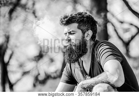 Man Long Beard Relaxed With Smoking Habit. Man With Beard And Mustache Breathe Out Smoke. White Clou