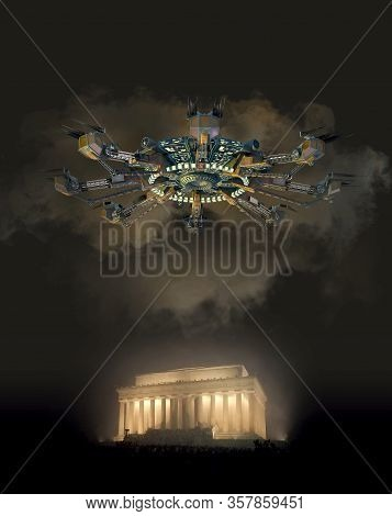 3d Illustration Of An Alien Spacecraft Hovering Above The Lincoln Memorial In Washington, Dc, For In