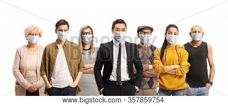 Group of young and older people wearing protective medical face masks isolated on white background