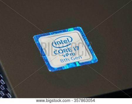 Montreal, Canada - March 17, 2020: Label Of Intel Mobile Cpu Central Processor Unit I7 8th Generatio