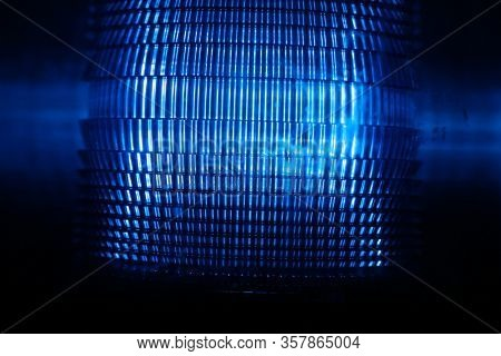 Blue Police Emergency Light. Blue Flashing Light. Security Light. Police Department. Emergency. Blue Light. Warning Sign. Safety Beacon.