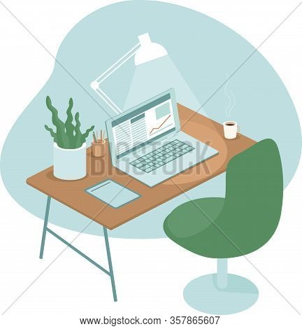 Cozy And Comfortable Workplace With Laptop. Home Office Concept. Flat Vector Illustration
