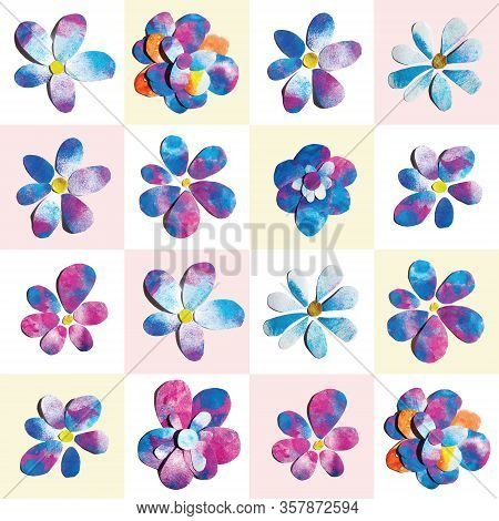 Spring Romantic Blue Pink Purple Watercolor Painted Paper-cut Flowers Checkered Seamless Pattern Ill