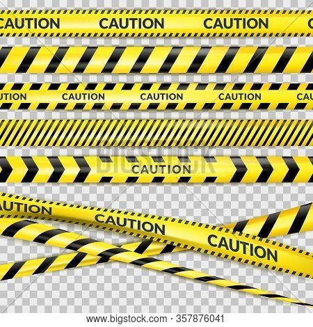 Caution Security Tape On Transparent Background. Vector 3d Realistic Illustration Of Protective Dang