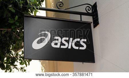 Palma de Mallorca, Spain - September 23, 2017: Asics store sign. Asics is a Japanese sportswear producer