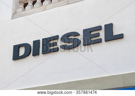 Palma de Mallorca, Spain - September 23, 2017.  Diesel store sign. Diesel S.p.A. is an Italian retail clothing company, located in Breganze, Italy.