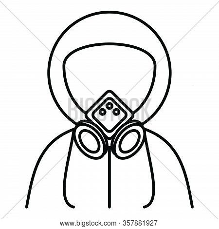 Person Wearing A Gas Mask For Protection Against Virus And Other Biohazard Threats. Full Mask. Vecto