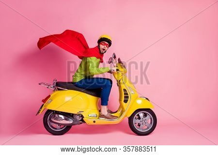 Profile Side View Of His He Nice Attractive Funky Worried Guy Driving Moped Fast Speed Wearing Cape