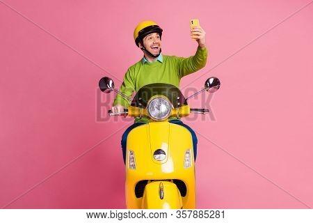 Portrait Of His He Nice Attractive Glad Cheerful Cheery Guy Riding Motorbike Taking Making Selfie Ha