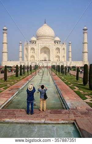 Tourists Photographing Taj Mahal In Agra, Uttar Pradesh, India. It Was Build In 1632 By Emperor Shah