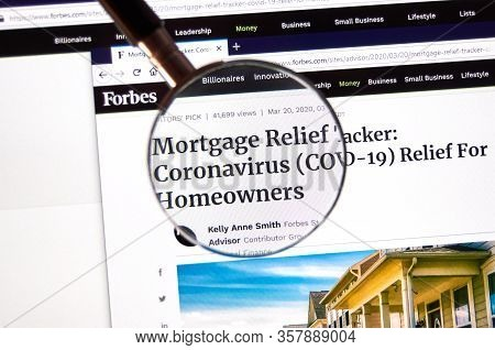 Montreal, Canada - March 21, 2020: Mortgage Relief Payments For Homeowners, Coronavirus Article On F
