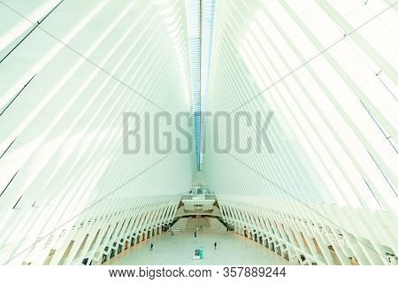 NEW YORK, USA - MARCH 21, 2020: Empty Oculus with few pedestrians and traffic as the result of COVID-19 coronavirus pandemic outbreak in New York City.