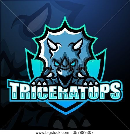 Vector Illustration Of Triceratops Mascot Esport Logo Design