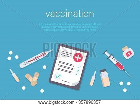 Syringe and vaccine set of medical tools for vaccination. Flu shot concept on the blue background. Time to vaccinate. Get your flu shot. Syringe with vaccine bottle. Immunization Vector