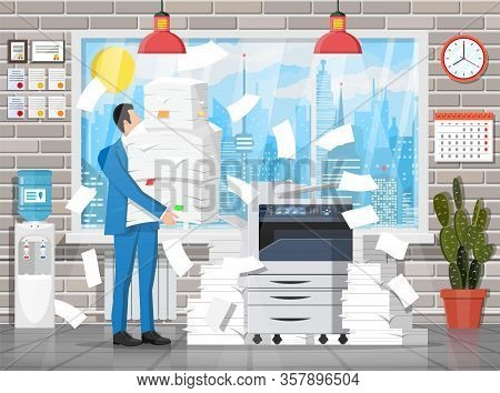 Stressed Businessman Under Pile Of Office Papers And Documents. Office Building Interior. Office Doc