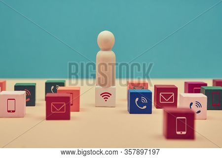 Smm Promotion. Social Media Marketing. Seo Development. Social Management. Wooden Figure Stands On C