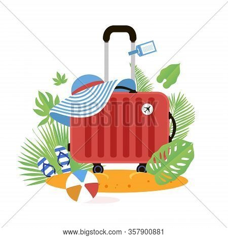 Red Suitcase On The Beach. Travel Bag With Hat On The Sunny Beach. Flipflop, Ball And Palm Leaves. S