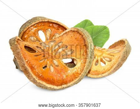 Dry Bael Fruit Tea (aegle Marmelos) Isolated On White Background.this Has Clipping Path.