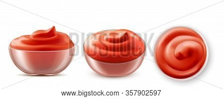 Ketchup In Bowl Top And Side View Set. Glass Cup With Fresh Tomato Sauce Product, Dressing In Rameki