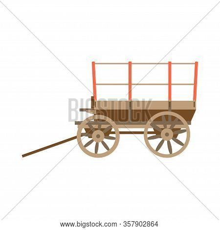 Vector Illustration Color Icon With Simplified Prairie Schooner Waggon. Wild West Cowboy Authentic S