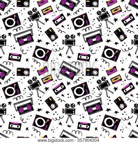Music Player, Tape Recorder, Videotape, Movie Camera, Camera, Cassette Vector Hand Drawn Seamless Pa