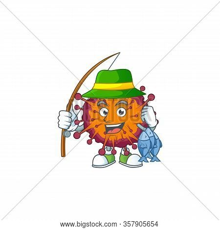 Cartoon Character Of Funny Fishing Covid19 Syndrome