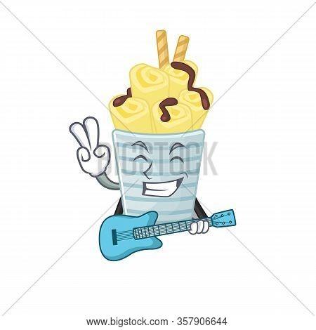 Supper Cool Ice Cream Banana Rollscartoon Playing A Guitar
