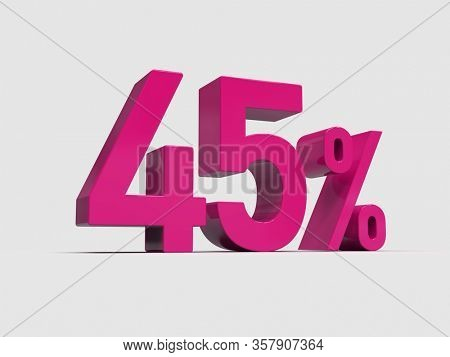 3d Render: Pink 45% Percent Discount 3d Sign on Light Background, Special Offer 45% Discount Tag, Sale Up to 45 Percent Off, Forty-five Percent Letters Sale Symbol, Special Offer Label, Sticker, Tag