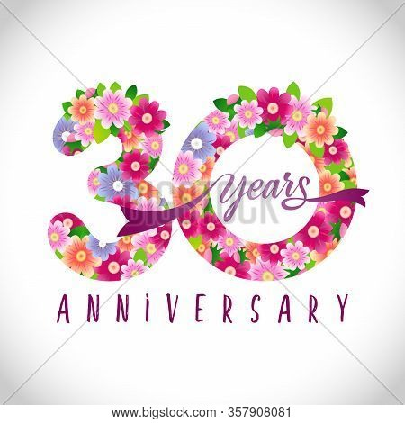 30 Th Anniversary Numbers. 30 Years Old Logotype. Floral Pink Congrats. Isolated Abstract Graphic De