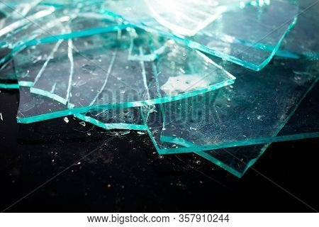 Broken Glass Pile Pieces Texture And Black Background