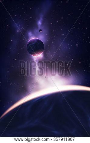 A Vector Illustration Of The Planets In The Universe With Nebula As A Background.