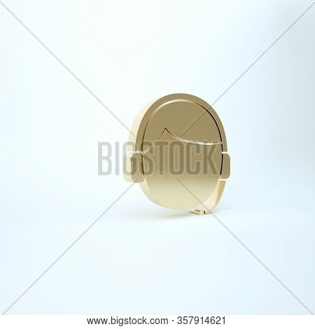 Gold Man With A Headset Icon Isolated On White Background. Support Operator In Touch. Concept For Ca