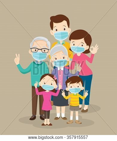 Family Wearing Protective Medical Mask For Prevent Coronavirus Wuhan Covid-19.dad Mom Daughter Son W