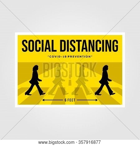 Banten, Indonesia, 27 March 2019: Minimalist Social Distancing Flat Vector Poster Illustration Desig
